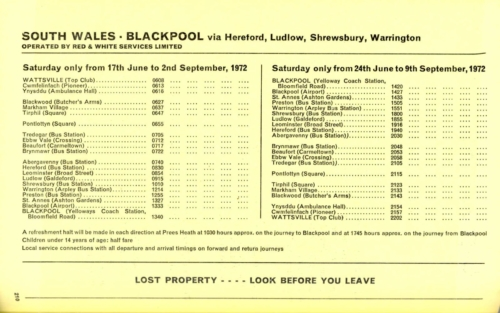 South Wales - Blackpool via Hereford, Shrewsbury